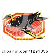 Clipart Of A Retro Raven On A Crowbar Over An Orange White And Yellow Sunset Hexagon Royalty Free Vector Illustration