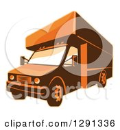 Clipart Of A Retro Brown And Orange Toned Delivery Van Or Moving Truck Royalty Free Vector Illustration by patrimonio