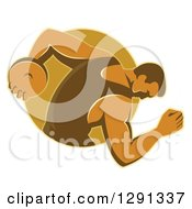 Clipart Of A Retro Male Discus Thrower Emerging From A Brown Oval Royalty Free Vector Illustration