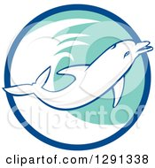 Clipart Of A Retro Jumping Dolphin In A Blue White And Turquoise Circle Royalty Free Vector Illustration by patrimonio