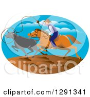 Clipart Of A Retro Horseback Cowboy Roping Cattle In An Oval Royalty Free Vector Illustration