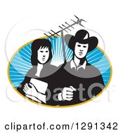 Clipart Of A Retro Cowgirl And Cowboy Holding A Tv Antennae In An Oval Of Sunshine Royalty Free Vector Illustration