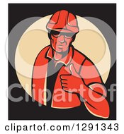 Retro Red Male Construction Worker Holding A Thumb Up In A Tan Circle On Black With A White Border