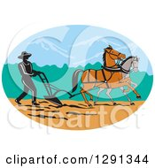 Clipart Of A Silhouetted Male Farmer Using Horses To Plow A Field In An Oval Royalty Free Vector Illustration