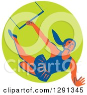 Clipart Of A Retro Female Acrobat Flying On A Trapeze And Emerging From A Green Circle Royalty Free Vector Illustration