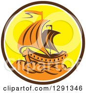 Clipart Of A Retro Orange Galleon Tall Ship In A Brown White And Yellow Circle Royalty Free Vector Illustration by patrimonio