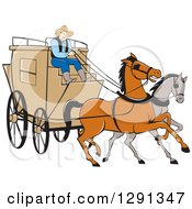 Cartoon Stagecoach Driver On A Carriage With Horses In The Front
