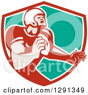 Clipart Of A Retro Male Gridiron American Football Player Throwing In A Red White And Turquoise Shield Royalty Free Vector Illustration