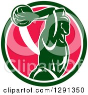 Clipart Of A Retro Basketball Player Jumping For A Slam Dunk Over A Green White And Pink Circle Royalty Free Vector Illustration