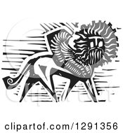 Clipart Of A Black And White Woodcut Winged Lion With A Mans Face Royalty Free Vector Illustration