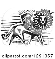 Clipart Of A Black And White Woodcut Winged Lion Royalty Free Vector Illustration
