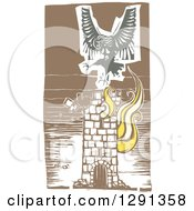Clipart Of A Woodcut Female Harpy Of Greek Mythology Flying Over A Burning Tower Royalty Free Vector Illustration