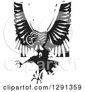 Clipart Of A Black And White Woodcut Female Harpy Of Greek Mythology Royalty Free Vector Illustration