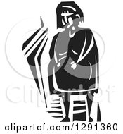 Clipart Of A Black And White Woodcut Pregnant Woman Holding Her Clock Belly Royalty Free Vector Illustration