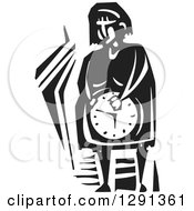 Black And White Woodcut Pregnant Woman Holding Her Clock Belly