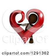 Clipart Of A 3d Brown Man Holding And Looking Through A Giant Red Valentines Day Love Heart Royalty Free Illustration