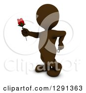 3d Brown Man Holding Out A Red Valentines Day Rose With A Ring Behind His Back