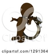 Clipart Of A 3d Brown Man Presenting And Standing In Front Of A Giant Engagement Ring Royalty Free Illustration by KJ Pargeter