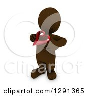3d Brown Man Holding A Red Valentines Day Love Heart