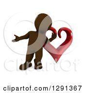 3d Brown Man Presenting In Front Of A Giant Red Valentines Day Love Heart