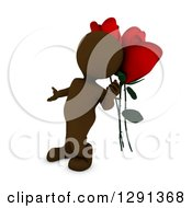 3d Brown Man Gesturing To Giant Red Valentines Day Roses
