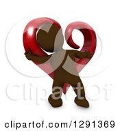 3d Brown Man Hugging A Giant Red Valentines Day Love Heart