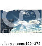 Clipart Of A 3d Lone Man Sitting On A Cliff On A Mountain Against Sunshine And A Cloudy Sky Royalty Free Illustration