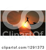 Clipart Of A 3d Silhouetted Man Leaping From One Cliff To Another Over An Orange Sunset Royalty Free Illustration