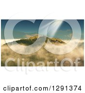 Clipart Of A 3d Successful Lone Man Holding Up His Arms Atop A Mountain With Sun Shining Down On Him Royalty Free Illustration by KJ Pargeter