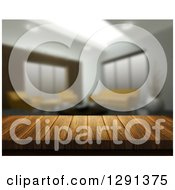 Clipart Of A 3d Close Up Of A Wooden Table And A Blurred Modern Lobby Or Living Room Royalty Free Illustration by KJ Pargeter