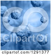 Clipart Of A Blue Background Of 3d Floating Virus Cells Royalty Free Illustration