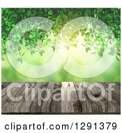 Clipart Of A 3d Aged Wooden Table With Green Vines Light And Bokeh Flares Royalty Free Illustration by KJ Pargeter