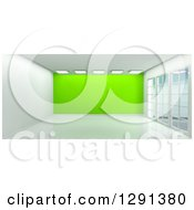 Clipart Of A 3d Empty Room Interior With Floor To Ceiling Windows Lights And A Lime Green Feature Wall Royalty Free Illustration