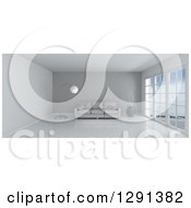 Clipart Of A 3d White Room Interior With Floor To Ceiling Windows A Gray Feature Wall And Furniture Royalty Free Illustration