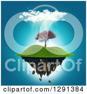 Clipart Of A 3d Floating Island With A Cherry Tree Under A Rainbow And Rain Cloud Royalty Free Illustration