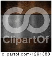Clipart Of A 3d Distressed Metal Plaque Over Rust Royalty Free Illustration by KJ Pargeter