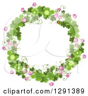 Clipart Of A Round St Patricks Day Wreath Of Shamrock Clovers And Flowers Royalty Free Vector Illustration by merlinul