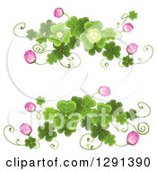 St Patricks Day Border Design Elements Of Shamrock Clovers And Flowers
