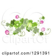 Clipart Of A St Patricks Day Border Design Element Of Shamrock Clovers And Flowers Royalty Free Vector Illustration
