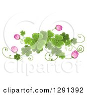 St Patricks Day Border Design Element Of Shamrock Clovers And Pink Flowers