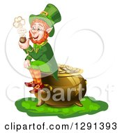 Clipart Of A St Patricks Day Leprechaun Smoking A Pipe And Sitting On A Pot Of Gold Royalty Free Vector Illustration by merlinul