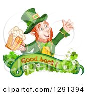 Clipart Of A St Patricks Day Leprechaun Cheering With Beer Over A Good Luck Banner With Shamrocks Royalty Free Vector Illustration