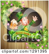 St Patricks Day Leprechaun Holding A Beer In A Good Luck Sign Over Wood With Shamrocks