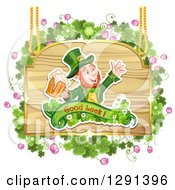 Clipart Of A St Patricks Day Leprechaun Cheering With Beer On A Wood Sign With Shamrocks Royalty Free Vector Illustration by merlinul