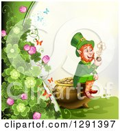 Clipart Of A St Patricks Day Border Of Butterflies And Clovers With A Leprechaun Smoking A Pipe And Sitting On A Pot Of Gold Royalty Free Vector Illustration