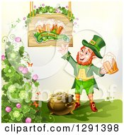 Clipart Of A St Patricks Day Leprechaun Holding A Beer By A Pot Of Gold Shamrocks And Sign Royalty Free Vector Illustration by merlinul