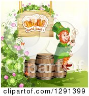 Clipart Of A St Patricks Day Leprechaun Smoking A Pipe On A Beer Keg Under A Good Luck Beer Sign With Shamrocks Royalty Free Vector Illustration by merlinul