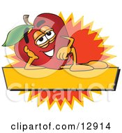Clipart Illustration Of A Red Apple Character Mascot Label by Toons4Biz