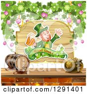 Clipart Of A St Patricks Day Leprechaun Cheering With Beer On A Wood Sign With Shamrocks Over A Keg And Pot Of Gold Royalty Free Vector Illustration by merlinul