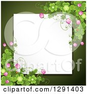 Blank White Sign Or Paper Over Green With St Patricks Day Clovers And Flowers